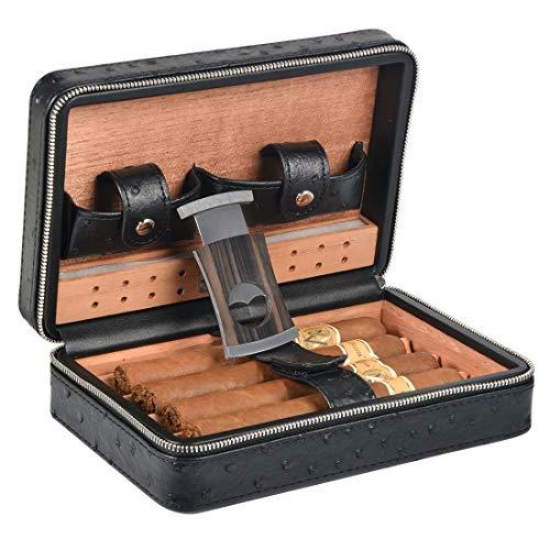 Volenx Zigarren Humidor Leder mit Zigarrenschneider - Hält bis zu 4 Zigarren(Schwarz)