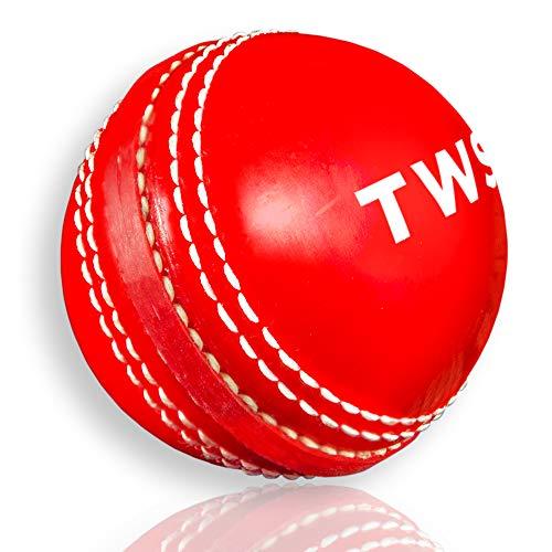 Cricketball zum Üben und Spielen, Nähte, Schaukel, Hüpfen, Junior & Senior (rot, 1 Stück)