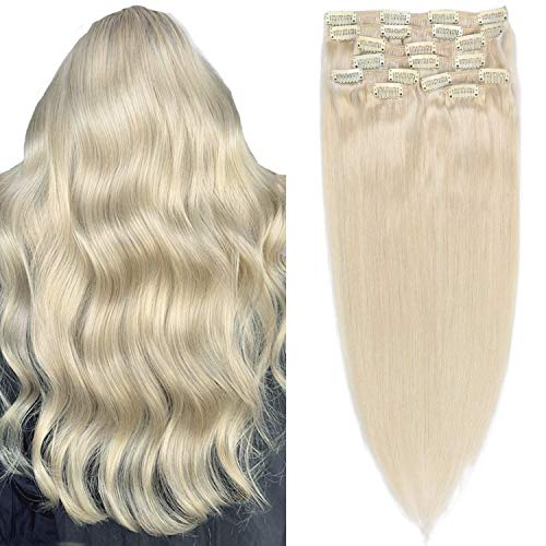 """16""""/16 inch Blonde Human Hair Extension Clip Cheveux #60 Remy Hair Extensions Clip on Blonde Human Hair Full Head Thick Long Soft Silky Straight 8Pcs/"""