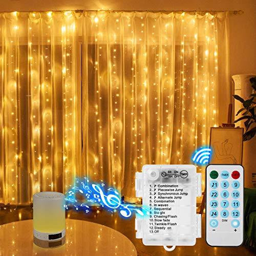 ELEPOWSTAR Cortina de luces, 3 x 3 m, 300 ledes, funciona con pilas, luz blanca cálida, IP44, resistente al agua, mando a distancia, decoración interior y exterior para fiestas, bodas