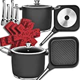 Cast Iron Pots and Pans Sets, Non-Stick Induction Cookware Sets,22 Pcs Grill Pans,Germany Professional Multilayer Coating, Dishwasher Safe,Oven Safe,Special Rough Surface,Merry Xmas New Year Gift!