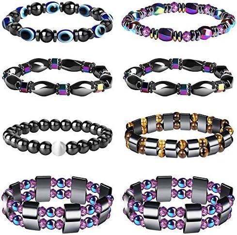 YADOCA 8 Pcs Hematite Magnetic Bracelets Set for Men Women Tigers Eye Bead Bracelet Colorful product image