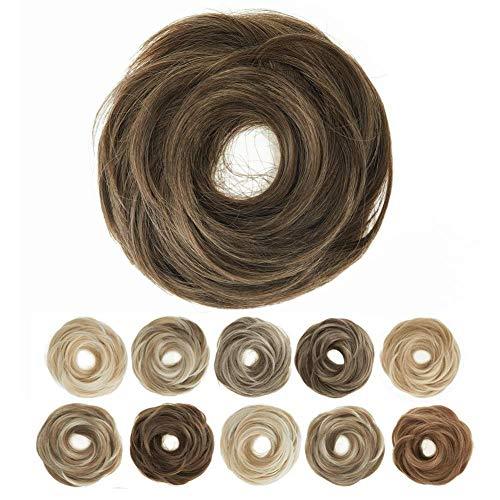 TOECWEGR Haarteil Haargummi Brautfrisur glatte Haarunordentliche Mischungverlängerung Haar für FrauenDutt Haar Brötchen Damen Kopfbedeckung (10M27)