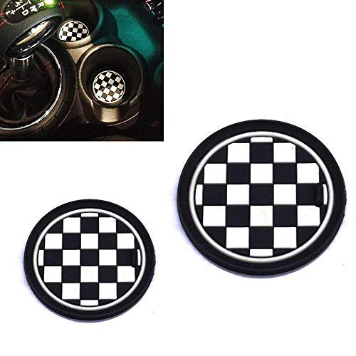 iJDMTOY (2) 78mm Checker Pattern Silicone Cup Holder Coasters Compatible With MINI Cooper R61 Paceman F55 F56 3rd Gen Front Cup Holders, Black/White Checkerboard Design