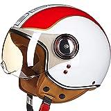 KILCVEM Casco Demi-Jet da Uomo e Donna Casco Jet Moto Aperto Scooter Caschi Motorino Vintage con Visiera Parasole Omologato DOT/ECE - Lucido Bianco Rosso Verde,M: (57~58CM)