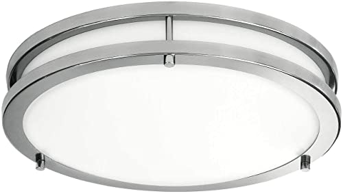 LB72165 LED Flush Mount Ceiling Light, 16 inch, 23W (200W Equivalent) Dimmable 1610lm, 5000K Daylight, Brushed Nickel...
