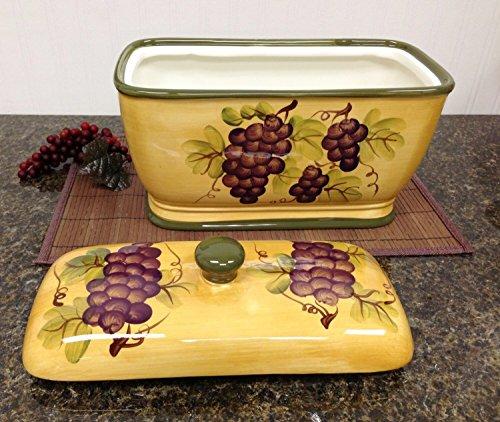 Kitchen Decor Grape Desing Tuscany Wine Bread Canister Box