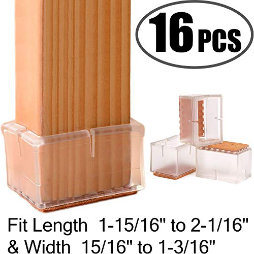 Chair Leg Floor Protectors Rectangular Fit Length 1-15/16' to 2-1/16' & Width 15/16' to 1-3/16' Large Chair Leg Caps Silicone Table Chair Feet Protectors with Felt Pads (16Pack)