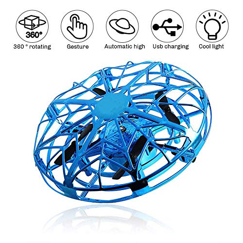 SeeKool UFO Flying Ball Mini Drone for Children, Hand Controlled Infrared Induction Flying Aircraft with LED Lights USB Charging Toy ,Indoor and Outdoor Games for 3-10 Year Old Kids