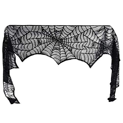 Kapmore Halloween open haard decoratie spinnenwebpatroon open haard sjaal mantel sjaal