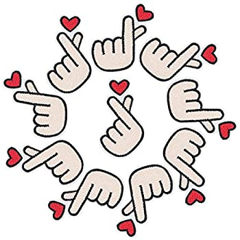 PAGOW 10PCS Finger Heart Patches Korean Kpop Finger Heart Sew on Embroidery Patch Fabric Applique Sticker Decal Pin for Jeans Cloth Backpacks Jackets