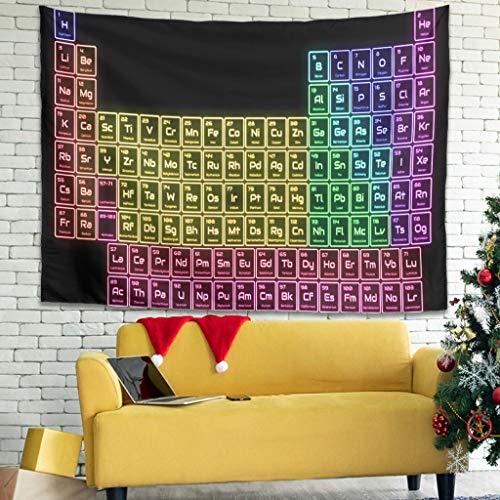 Ballbollbll Tapiz de mesa periódica colorido para colgar en la pared en el dormitorio, sofá cubre tapiz, para colgar en la pared, color blanco 91 x 59 pulgadas