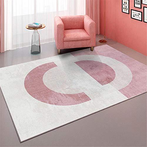 Kunsen habitación alfombras Infantiles Sala de Estar Rectangular Alfombra Rosa Blanco Moderno Antideslizante y sin deformación Camas Dobles 40X60CM 1ft 3.7' X1ft 11.6'