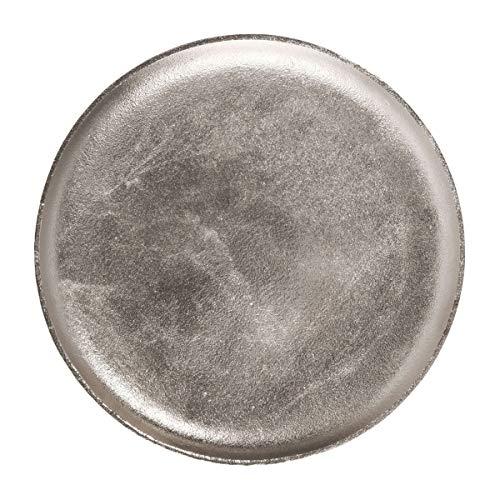 BUTLERS Banquet Vintage Dekoteller Ø 35 cm - Servierteller in Retro Optik aus Aluminium silbern vernickelt - Kerzenteller