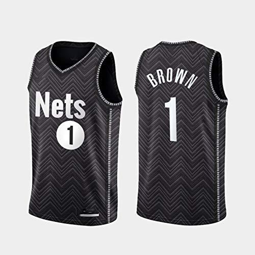 Mesita de Baloncesto Jersey NBA Brooklyn Nets 1# Bruce Brown Cómodo/liviano/Transpirable Malla Bordada Swing Swing Camiseta Retro Sudadera,S