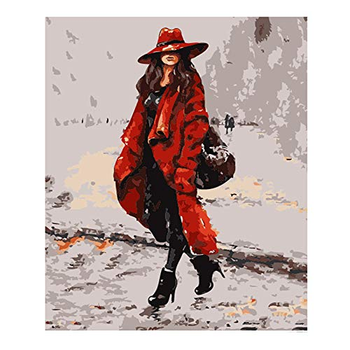 mmzki Red Hat Teenage Girl Figure DIY Digital Painting by Numbers Modern Wall Art Canvas Painting Unique Gift Home Decor c 50x70cm