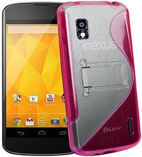 JKase 优质 LG 谷歌 Nexus 4 E960 DUOBLO TPU 硬质支架手机壳 - 零售包装 粉红色