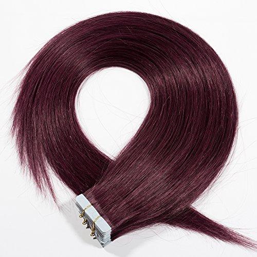 Tape Extensions Echthaar Haarverlängerung Tape in Klebeband Haar 20 Tressen x 4 cm breit 50g-45cm(#99J Weinrot)