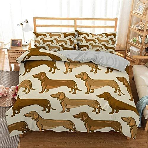 YUXO Duvet Set Bedding Sets Cartoon Dachshund Bedding Set Cute Sausage Dog Duvet Cover Set Pet Printed Comforter Sets Bed Linen Bedclothes 1014 (Color : 4, Size : AU King 220x240cm)
