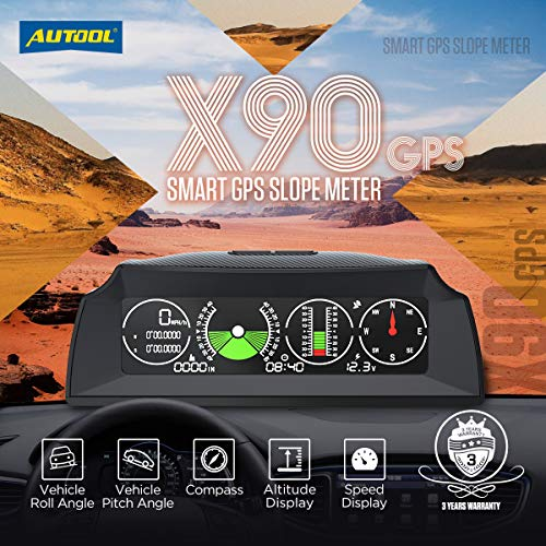 Car Inclinometer Level Tilt Gauge, AUTOOL X90 Car HUD GPS Speedometer MPH Car Electronic Compass Clinometer Indicator, Digital Inclinometer Car Angle Slope Meter for Off-Road Vehicle