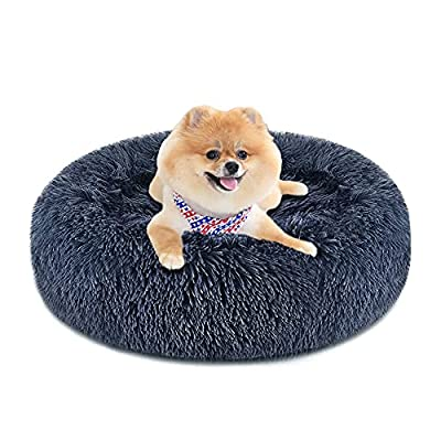 Calming Dog Bed & Cat Bed, Anti-Anxiety Donut Dog Cuddler Bed, Warming Cozy Soft Dog Round Bed, Fluffy Faux Fur Plush Dog Cat Cushion Bed for Small Medium Dogs and Cats