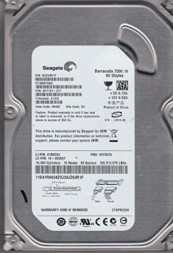 Seagate 80 GB Barracuda 7200.10 8,89 cm (3,5 Zoll) Model ST380815AS interne SATA Festplatte