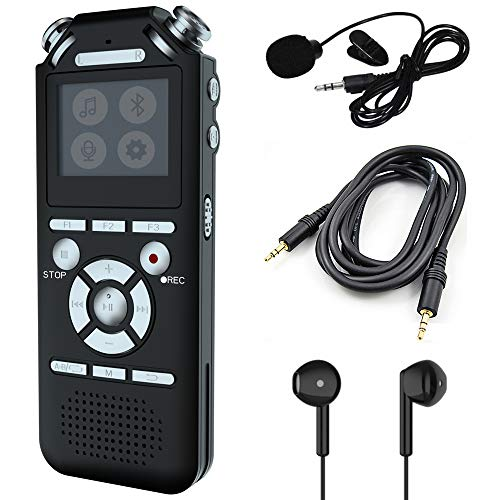 Digital Voice Recorder, WOUOK 16GB MP3 Players with Bluetooth, Hi-Fi Lossless Sound Music Player with,Voice Activate Recorder/Rechargeable,USB Memory Feature,for Meetings/Interviews/Lectures/CLAS