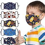 Sumeiwilly 5 Stück Mundschutz Kinder Multifunktionstuch 3D Cartoon Druck Maske Animal Print Atmungsaktive Baumwolle Stoffmaske Waschbar Mund-Nasenschutz Bandana Halstuch für Jungen Mädchen (B)
