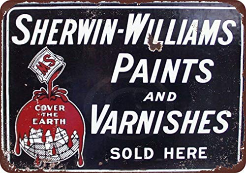 HomDeo Wall Retro Style Decor Art Garage Metal Signs Vintage Tin Sign 8 x 12 Basement Ranch Sherwin Williams Paints Varnishes Vintage Look Pub