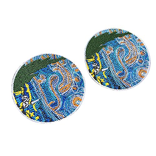 Haodou 2 Piezas Parches de Bordado Pintura de Van Gogh La Noche Estrellada Hierro En Ropa Bordada Parches para La Ropa Pegatinas Ropa Parches Apliques Size 7.5 * 7.5cm