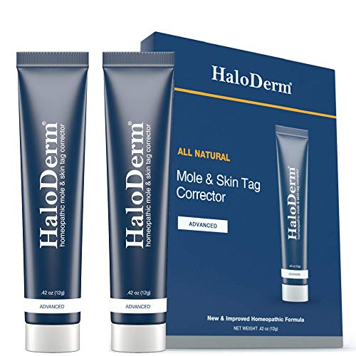 HaloDerm Advanced Skin Tag Remover & Mole Remover - All Natural Skin Tag Cream - Remove up to 10 Skin Tags (FAST Results In As Little As 3-5 Applications) (2-Pack)
