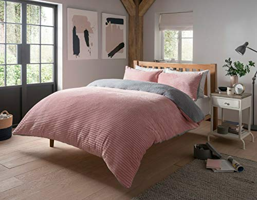 SELECT-ED Ribbed Quality Sherpa Fleece Soft Reversible Soft Duvet Cover Quilt Bedding Set with Pillowcases LW (Blush Pink, Double)