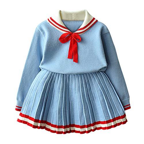 Livoral Kinder Winter AnzugKleinkind Baby Kind Mädchen Bogen warme Strickjacke häkeln Top Faltenrock Set(Hellblau,130)