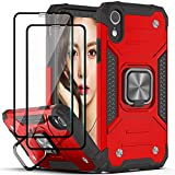YmhxcY Compatible for iPhone XR Case with Tempered Glass Screen Protector[2 Pack],Armor Grade with Rotating Holder Kickstand Non-Slip Hybrid Rugged Phone Case for iPhone XR(6.1 inch)-Red