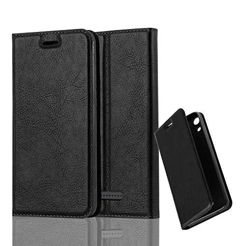 Cadorabo Hülle für WIKO Lenny 4 in Nacht SCHWARZ - Handyhülle mit Magnetverschluss, Standfunktion & Kartenfach - Hülle Cover Schutzhülle Etui Tasche Book Klapp Style