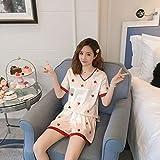 ZWLXY Seda Pjs De Las Nuevas Señoras De Moda De Manga Corta De Satén Elegante Ropa De Dormir con El Hogar Ropa Clase De Pijamas De Las Mujeres Elegantes Conjuntos para Mujer Pijamas,D,XL