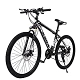 [Shipping from US] Aluminum Full Mountain Bike - Stone Mountain 26 Inch 21-Speed Bicycle - Mens/Womens Hybrid Road Bike (Black)