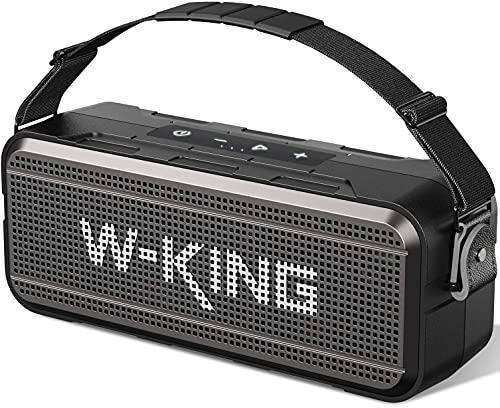 60W Bluetooth Lautsprecher, W-KING Lauter kabelloser tragbarer Lautsprecher mit integrierter 8000mAh Powerbank IPX6 wasserdichte Außen oder Innenlautsprecher mit TF Kartensteckplatz, TWS