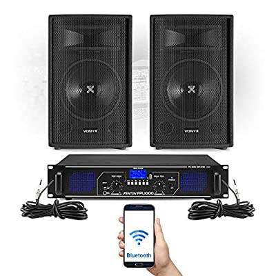 VONYX SL 12 Inch Bluetooth PA Speakers with Amplifier FPL1000 MP3 DJ Karaoke Party System