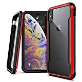 X-Doria Defense Shield, iPhone Xs Max - Military Grade Drop Tested, Anodized Aluminum, TPU, and Polycarbonate Protective Case for Apple iPhone Xs Max, 6.5 Inch Screen (Red)