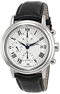 Raymond Weil Men's 7737-STC-00659 Maestro Stainless Steel Automatic Watch with Black Leather Band image