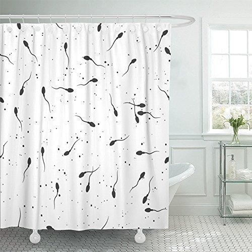 Emvency Shower Curtain Waterproof Decorative Bathroom 72 x 72 inches Anatomy Sperm Microscope Spermatozoa Semen Biology Birth Cell Polyester Fabric Set Hooks