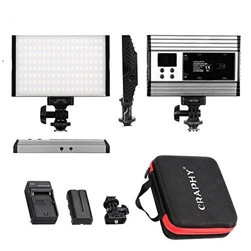 CRAPHY Luz de Video con Pantalla LCD, Batería de Li-Ion y Cargador, 144 Leds Bi Color 3200K-5600K, 15W, Foco Led Camara, para cámara videocámara DSLR Canon Nikon Sony