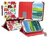 Emartbuy bq Aquaris M8 Tablet PC 8 Pulgadas Multicolor Elefantes Ángulo Múltiples Ejecutivo Folio Funda Carcasa Wallet Case Cover con Ranuras para Tarjetas+ Stylus