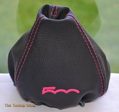 Schaltsack schwarz Leder mit pink 500 Edition manuell