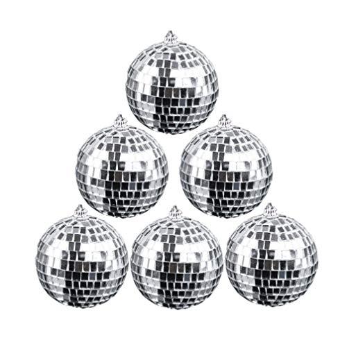Toyvian 6 Stücke Spiegel Discokugeln Silber Spiegelkugeln Geburtstag Hochzeit Hängen Dekoration Ornamente Kuchen Topper 6 Cm