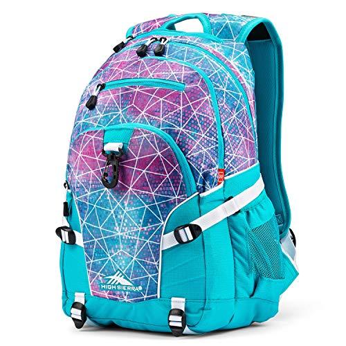 High Sierra Loop Backpack, Sequin Facets/Bluebird/White, 19 x 13.5 x 8.5-Inch