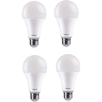 Cree Lighting A19-60W-B1-27K-E26-U4 Basic A19 60W Equivalent LED Bulb (Dimmable) 800, lumens, Soft White 2700K, 4 Pack