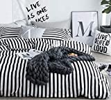 Jumeey White and Black Duvet Cover Queen Striped Bedding Set Full Men Women Soft Cotton Vertical Stripes Duvet Cover Full Size 3 Piece Reversible Comforter Cover
