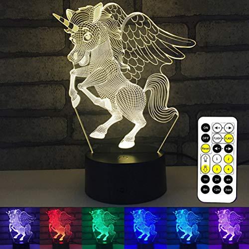 HERAHQ Licorne 3D Night Light Boy Toys, 7 Couleurs avec télécommande ou Smart Touch, Cadeaux d'anniversaire pour 2-10 Ans garçons et Fille,Black Remote Control